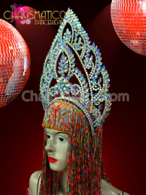 CHARISMATICO Iridescent Crystal and Rhinestone Tiara Styled Exotic Thai Inspired showgirl Headdress
