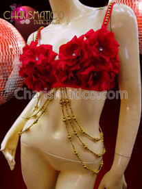 CHARISMATICO Paso Doble Red Rose Covered Spanish Flamenco Bra with Gold Bead Details