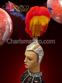 CHARISMATICO Mirrored Half Cap Style Rainbow Gay Pride Ostrich Feather Headdress