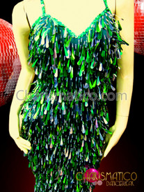 CHARISMATICO Drag Queen Sparkly Pageant Styled Iridescent Green Teardrop Sequin Diva Gown
