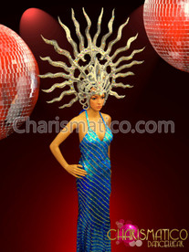 """CHARISMATICO Shiva DRAG Inspired Silver """"Flame"""" Headdress with Mirror Crystal Embellishments"""