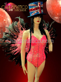 CHARISMATICO Bright Pink Iridescent Drag Queen Sequin Corset Style Leotard + Matching Feather Wings