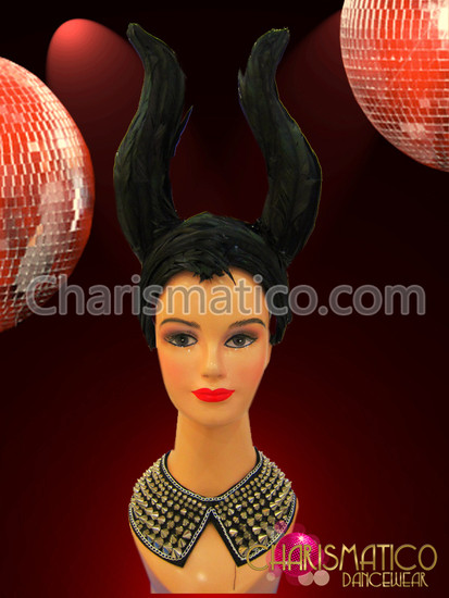 """Black feather covered """"horn"""" style Diva Showgirl drag queen headdress"""