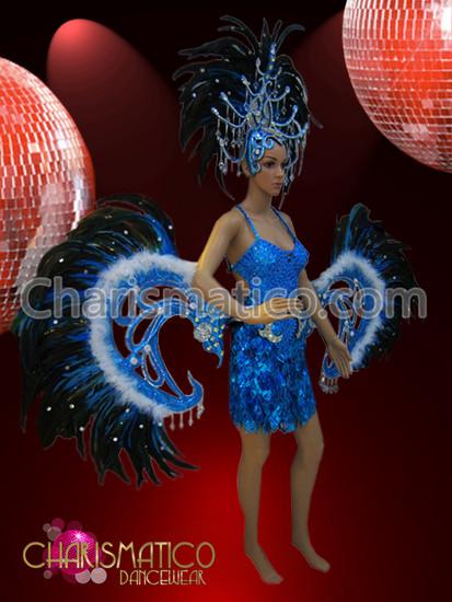 Blue Cabaret Costume sequin mini-dress, feathered belt, and headdress set