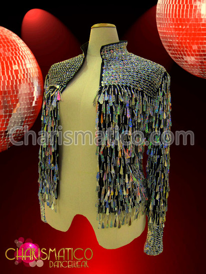 CHARISMATICO Black and Silver beaded Jacket with iridescent teardrop sequin fringe