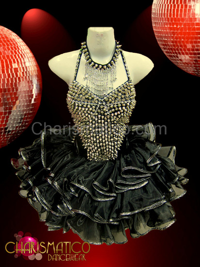 Cool Punk styled studded silver and iridescent black Sissy dress