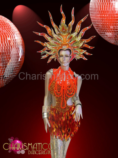 Coppery Orange sequin dance dress, Diva's necklace and glittery headdress