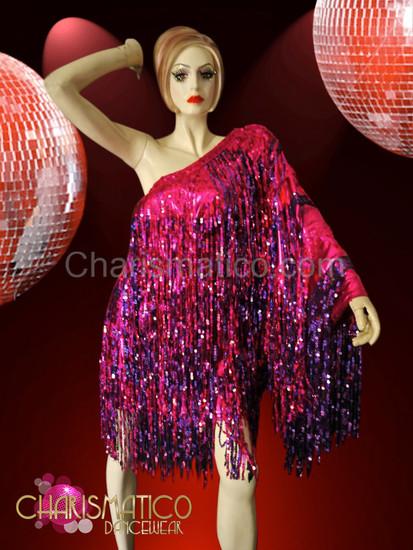 Asymmetrical fuchsia and purple sequin fringe Diva's Drag Queen Dress