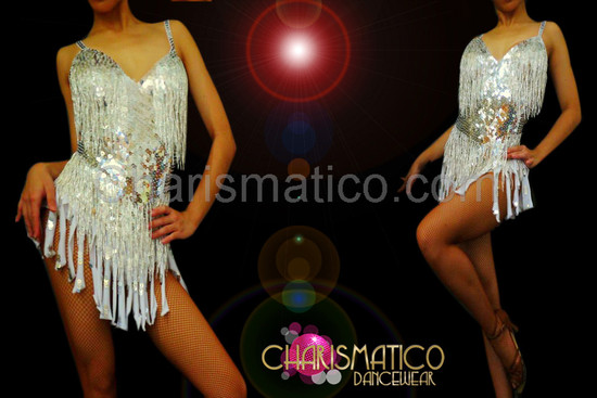 Sexy Showgirl's Silver sequined beaded white fringe Sassy dance mini-dress