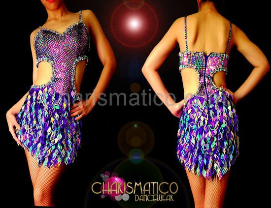 CHARISMATICO DIVA sexy Purple and silver laser diamond fringe cutout dance dress