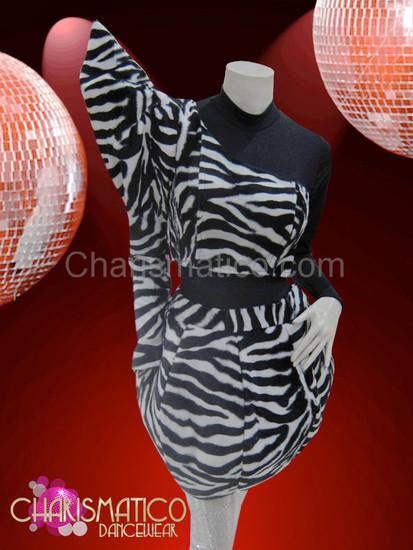 CHARISMATICO Asymmetrical black and white zebra print balloon skirt Lady Gaga Costume