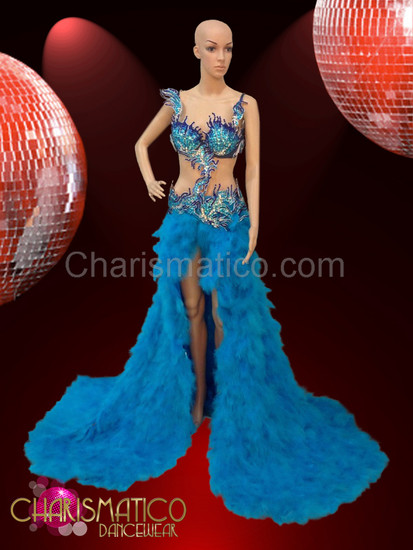 CHARISMATICO Blue feather pageant gown with jeweled crystal open work top