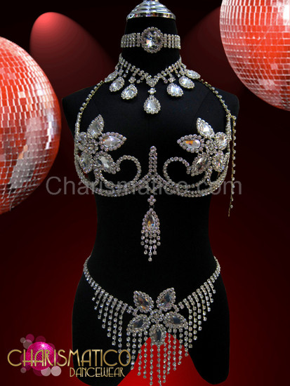 Burlesque rhinestone Floral style cage bra, thong and collar necklace set