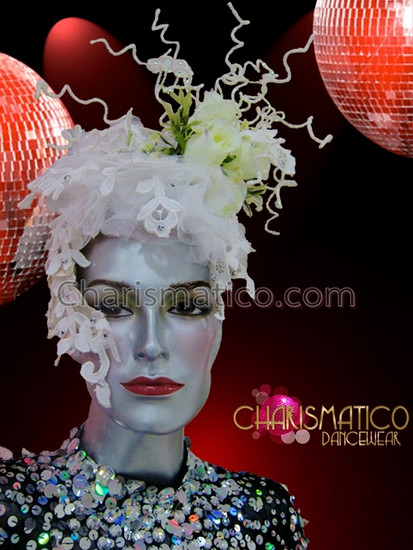 CHARISMATICO Asymmetrical spring fling floral showgirl's headpiece in white and yellow
