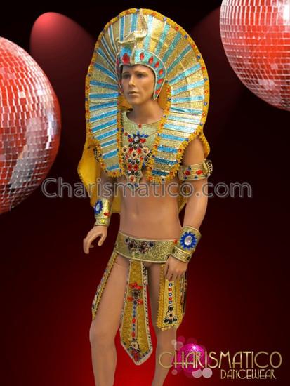 CHARISMATICO Complete Regal Bejeweled Golden Glitter Egyptian Pharaoh Men Costume Set