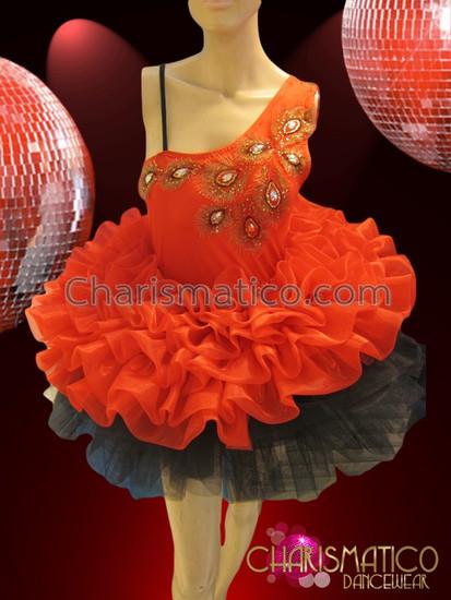 CHARISMATICO asymmetrical red organza with black trim tutu styled dolly dress