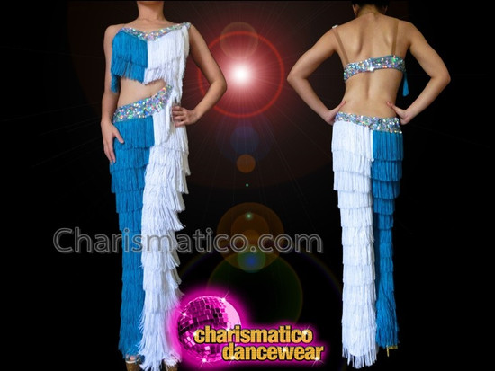 CHARISMATICO Blue and White Dance With The Stars Fringe Dance Pants