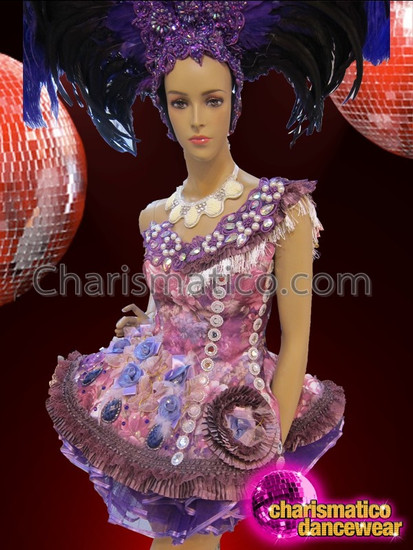CHARISMATICO Asymmetrical Diva's Purple Floral Bead Accented Fluffy Dolly Mini Dress