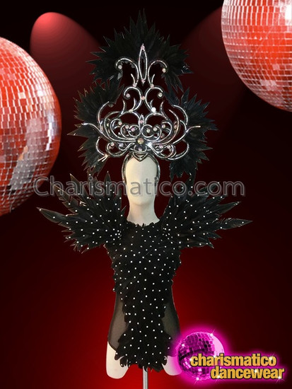 CHARISMATICO Diva Crystal Highlighted Black Feather Showgirl's Headdress And Matching Leotard