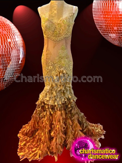 CHARISMATICO Bronze Lace Sheer Gown With Copper Accented Ribbon Ruffled Skirt
