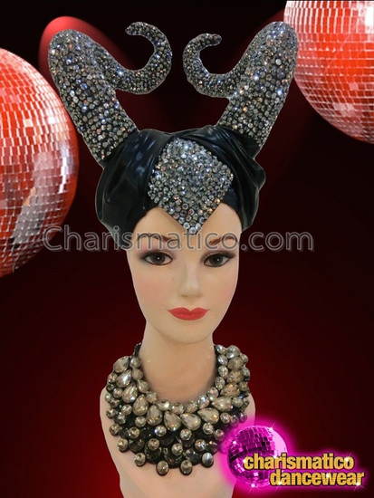 CHARISMATICO Black Satin Turbaned Shimmering Crystal Encrusted Maleficent Up-Swept Horn Headdress