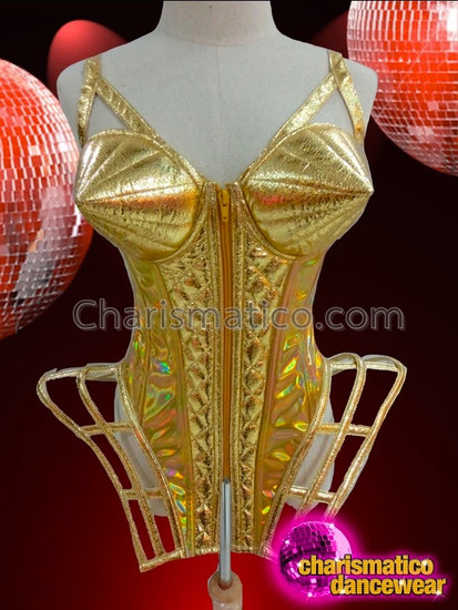 CHARISMATICO Two Tone Iridescent Gold Shiny Quilted Vinyl Gaga Diva Corset