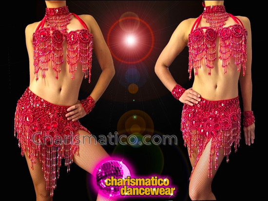 CHARISMATICO Cute Ruby Accented Red Sequin Diva's Bra With Matching Skirt