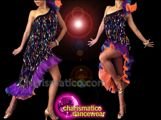 CHARISMATICO Asymmetrical Iridescent Teardrop Sequin Dress With Purple, Navy, And Coral Fringe