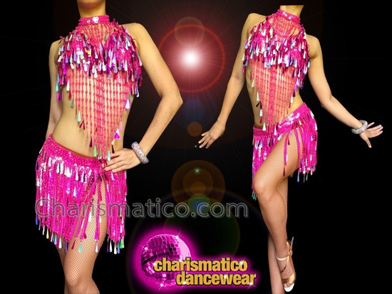 CHARISMATICO Bright Fuchsia Salsa Sequin Fringe Top and Skirt with Collar