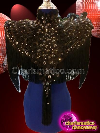 CHARISMATICO Black Performance Diva Shoulder Jacket with Tassels and Beaded Details
