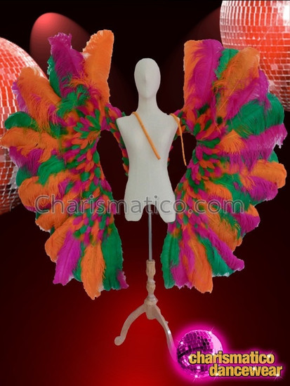 CHARISMATICO Colorful and vibrant glamour diva queen ostrich wing costume set
