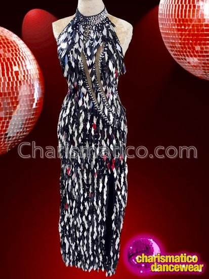 CHARISMATICO Dazzling Black And Silver Jumbo Sequin Diva Backless Gown With Beaded Collar