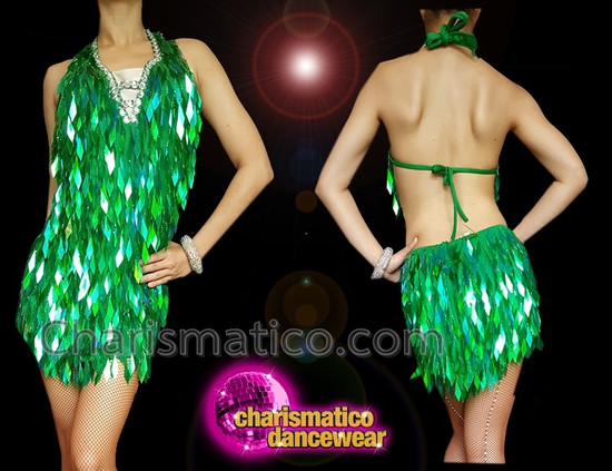 CHARISMATICO Dazzling Green Sequin Charismatic Diva Dress