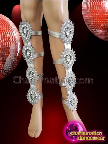 CHARISMATICO Crystallized and sequinned diva silver samba dance leg guard