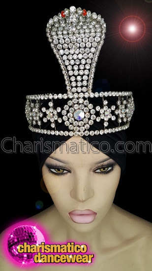 CHARISMATICO Crystallised diva showgirl show time headpiece with red stones