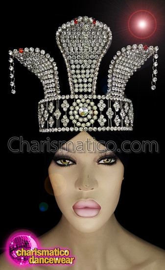 CHARISMATICO Diva crystallized snake headpiece with silver crystals and ruby red stones