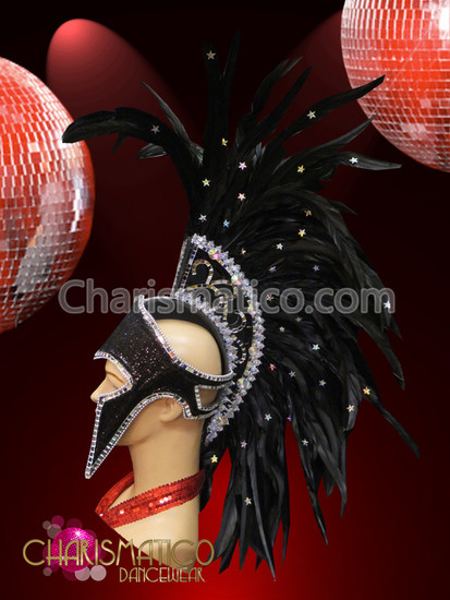 Black Mohawk Roman DRAG QUEEN DIVA FUTURISTIC STUNNING Headdress