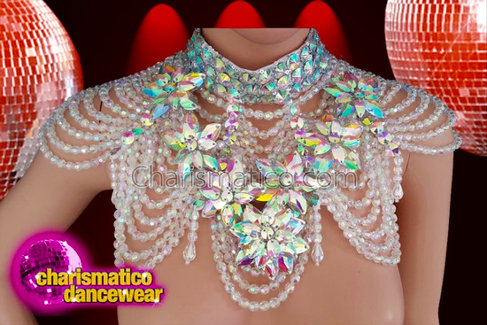 Charismatico  white multi layered transparent necklace with beads and rainbow flowers