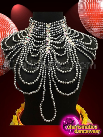 Charismatico  irregular symmetrical silver sequin necklace with faux pearls