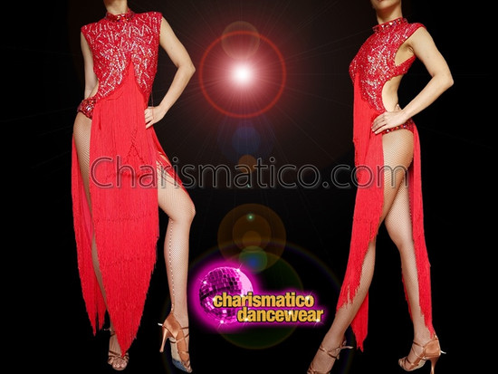 CHARISMATICO  red full length latin salsa fringe dance dress