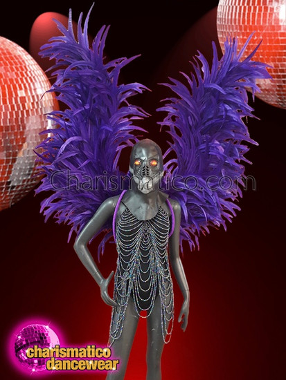 CHARISMATICO  Dramatic diva performance long purple asymmetrical wings