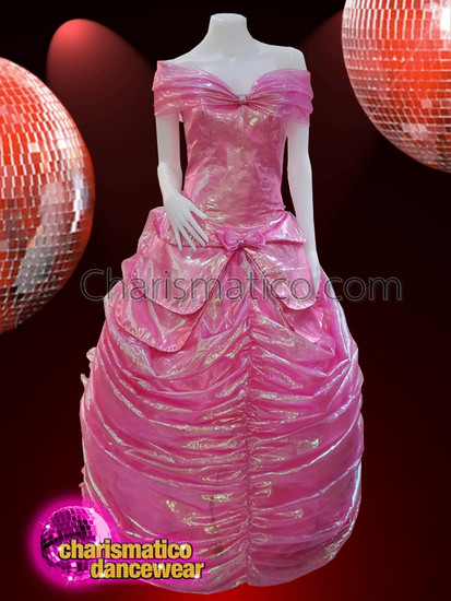 CHARISMATICO  Fuchsia off shoulder floor length gown with pleats
