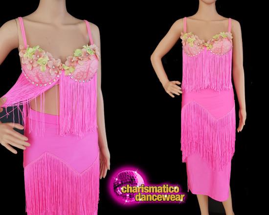 Pink fringe floral latin salsa 2 piece dance dress Clearance US  2-6