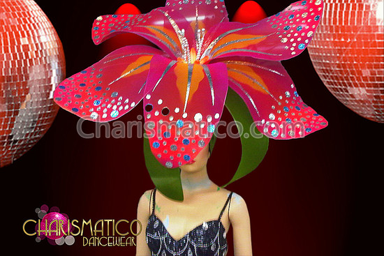 CHARISMATICO Charismatico Hibiscus Inspired Tropical Multi-tone Fuchsia Flower Headdress with Silver Highlights