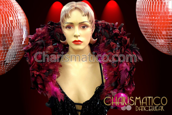 CHARISMATICO Dark Pink Feather samba Collar with Hot Pink sequins and Beadwork