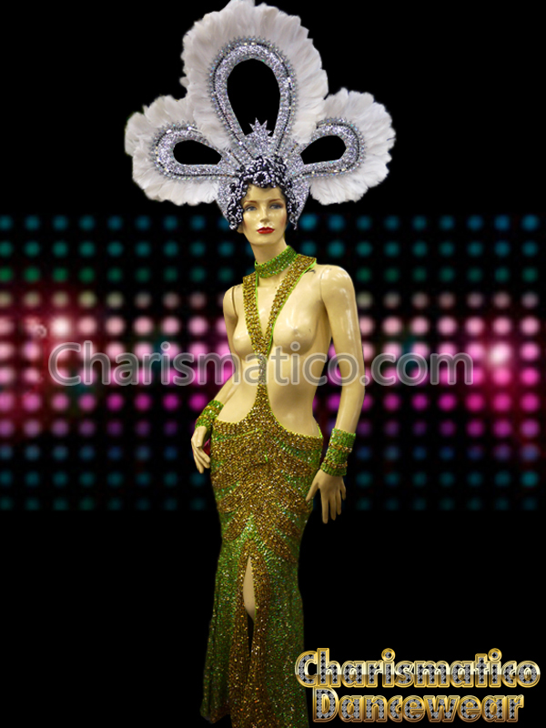 Green GOLD Tranvestite Pageant Sequin Topless Gown - Charismatico ...