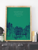 Travel Inspired artwork featuring a wanderlust-filled quote by Henry Miller. Design by Earmark Social Goods.