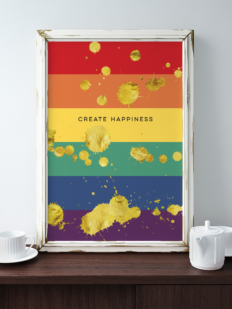 Create Happiness Rainbow Spatter Art Print by Earmark Social Goods Inc.