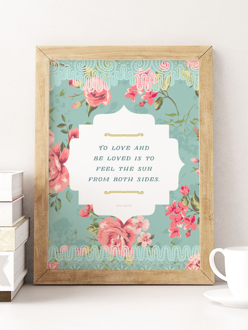 Such a beautiful piece of wall art. Love the quote paired with the charming floral design. via Earmark Social Goods.
