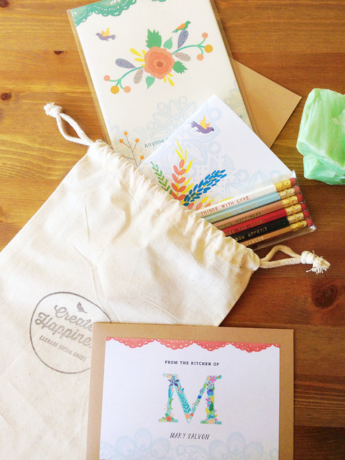 Notebook, Pencils, Print and Recipe Cards.